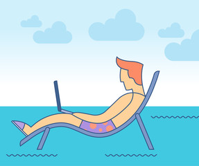 Man with laptop on her lap. Digital nomad concept. Vector illustration.