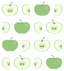Seamless pattern with flat green apple isolated on white background. Whole and carved (halfs and slices) fresh apples on fruit texture for fabric, wallpaper or web background. Vector EPS10 design