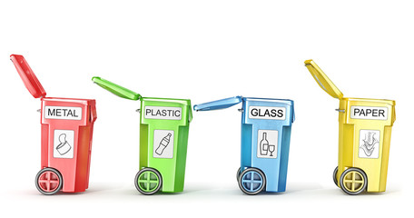 Opened trash cans for trash sorting isolated on a white. 3d illustration