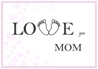 love you mom horizontal pink greeting card vector illustration