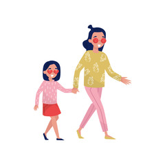 Young smiling mother with her little daughter walking outdoor and holding hands. Active lifestyle. Flat vector design