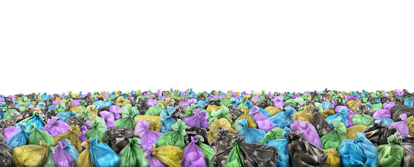 A lot of garbage bags on a white background. Sea of trash.