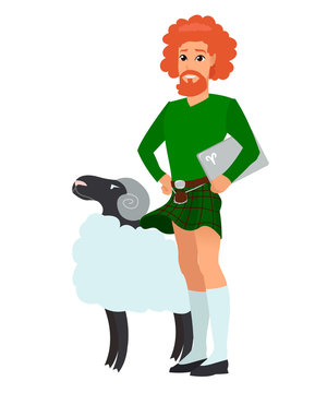 A red-haired man with a beard. Man with laptop. A young man in kilt. Character representing Aries for a modern horoscope. EPS10 vector illustration.