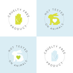 Vector Icon Style Illustration Logo Badge with Rabbit and Heart, Not Tested On Animals, Cruelty Free Lab Product Label Set, Isolated Minimalistic Design