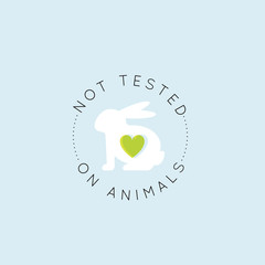 Vector Icon Style Illustration Logo Badge with Rabbit and Heart, Not Tested On Animals, Cruelty Free Lab Product Label, Isolated Minimalistic Design