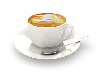 Cappuccino cup on a white