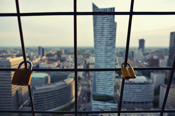 Locks place .View from above at  sunset in Warsaw downtown, Poland.