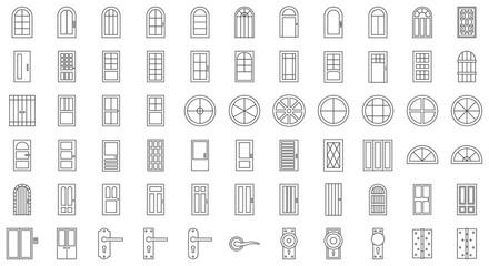 Door and window installation icon set, thin line