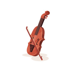 Flat vector icon of wooden violin with bow. Stringed musical instrument. Element for orchestra and music entertainment poster