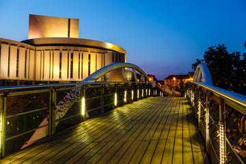 Opera building in Bydgoszcz city at night, Poland