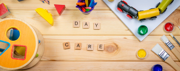 Day care concept - toy and art supply