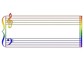portée musicale pour clavier en arc-en-ciel
