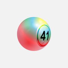 Multi colours 3D bingo lottery ball on white