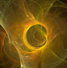 Fractal abstraction. A glowing center around which spirals and waves.