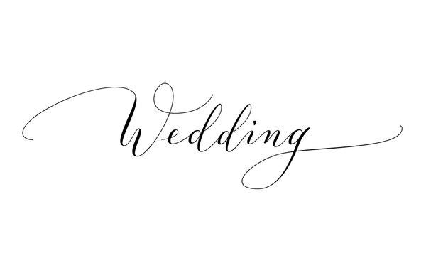Wedding text, hand written custom calligraphy isolated on white.
