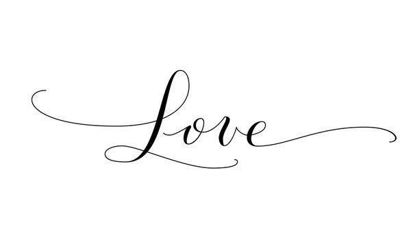 Love word, hand written custom calligraphy. Great for valentine day cards, wedding invitations and romantic decoration.