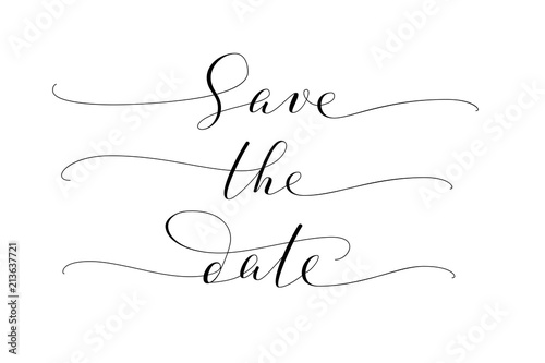 save the date words hand written custom calligraphy isolated on white