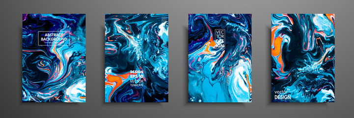 Mixture of acrylic paints. Liquid marble texture. Fluid art. Applicable for design cover, presentation, invitation, flyer, annual report, poster and business card, desing packaging. Modern artwork. Wall mural