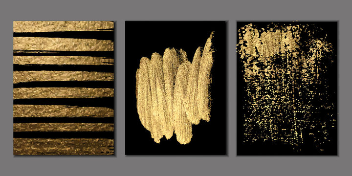 Set of Black and Gold Design Templates for Brochures, Flyers, Logo, Banners. Vector Abstract Modern Backgrounds