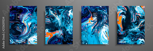 Fototapete Mixture of acrylic paints. Liquid marble texture. Fluid art. Applicable for design cover, presentation, invitation, flyer, annual report, poster and business card, desing packaging. Modern artwork.