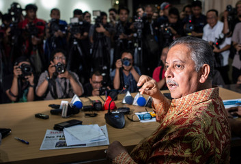 Sofyan Basir, the chief executive of Indonesian electricity utility Perusahaan Listrik Negara (PLN), speaks during a press conference at PLN headquarters in Jakarta