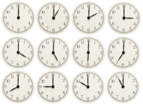 Set of office clocks showing various time isolated on white background