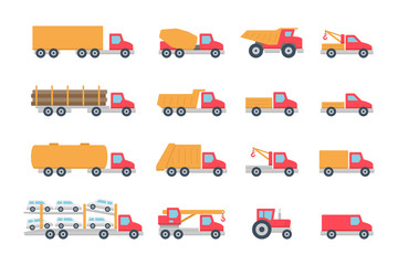 Trucks in Color. isolated on white background