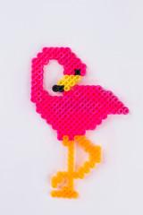 Perler bead flamingo.