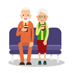 Old people drinking coffee. Elderly persons, man and woman sitting and holding coffee cups. Cartoon illustration isolated on white background in flat style