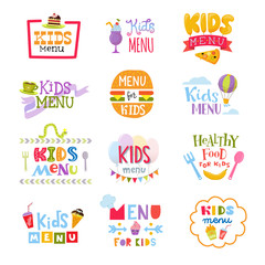Kids menu vector lettering template for child s food or meal in childish cafe or restaurant illustration set of baby cooking typography sign isolated on white background