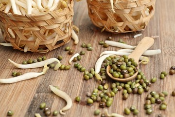 Bean sprouts with seed
