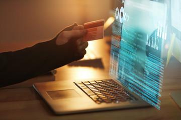 Fototapeta Credit Card Hacking. Stealing Money Online