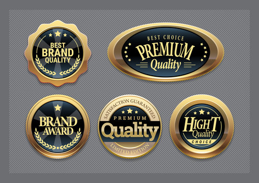 Golden badges collection.
