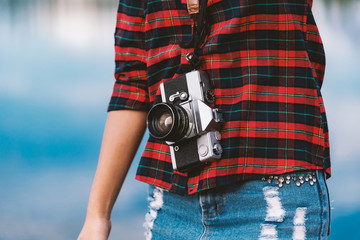 photographer camera photo person portrait photographing girl joy make photography taking concept - stock image