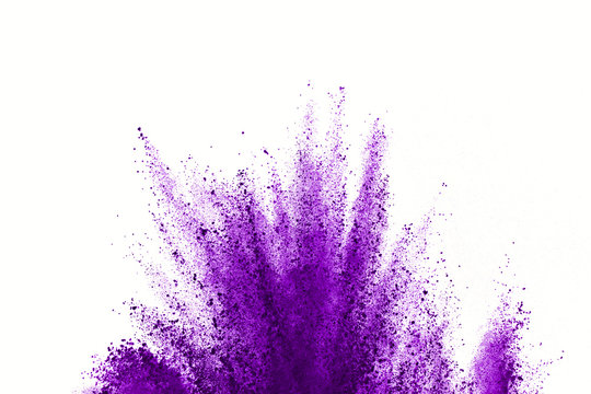 Abstract violet powder explosion on white background. abstract colored powder splatted on white background, Freeze motion of pink powder exploding.
