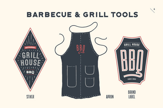 Barbecue, grill set. Poster bbq diagram and scheme - barbecue grill tools. Set of bbq stuff, apron, logo, brand label of steak grill house, restaurant, kitchen poster. Hand drawn. Vector illustration