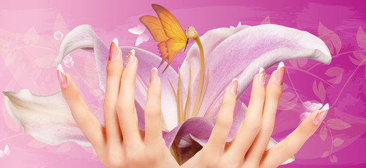 art flowers manicure woman nails