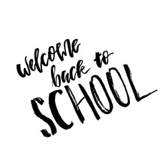 Welcome Back to School. Lettering text logo isolated on white background