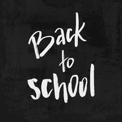 Welcome Back to School chalk lettering on blackboard. Vintage Calligraphic Design Label On Chalkboard. Vector Logo