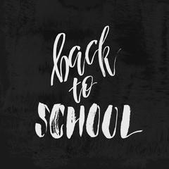 Welcome Back to School chalk lettering on blackboard. Vintage Calligraphic Design Label On Chalkboard. Vector Logo