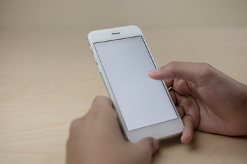Mobile phone using concept with blank screen.