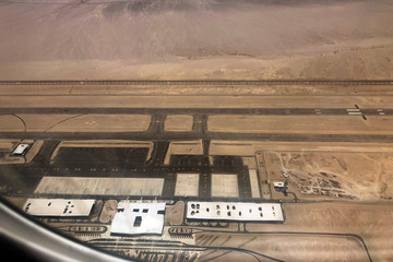An aerial view of the new Ramon International Airport in Timna Valley, as it is seen from a window of an airplane, north to Eilat