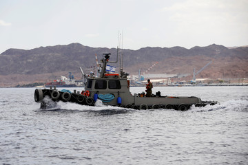An Israeli navy boat is seen in the Red sea, off the shore of Eilat