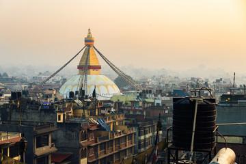 Boudhanath stupa at sunset, in Kathmandu, Nepal