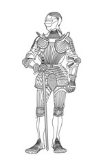 Medieval knight in armor. Black-and-white illustration of a medieval knight in armor and with a sword.