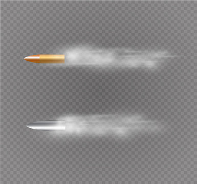 Flying bullet with dust trail. Isolated on black transparent background. Vector illustration