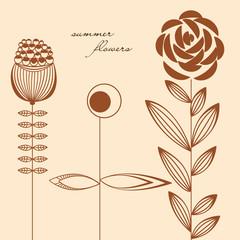 Fototapete - Flowers design elements