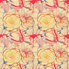 Fototapete - Floral seamless pattern, roses and tulips cheerful print