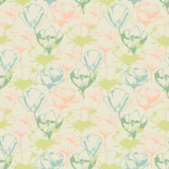 Fototapete - Retro soft floral seamless pattern