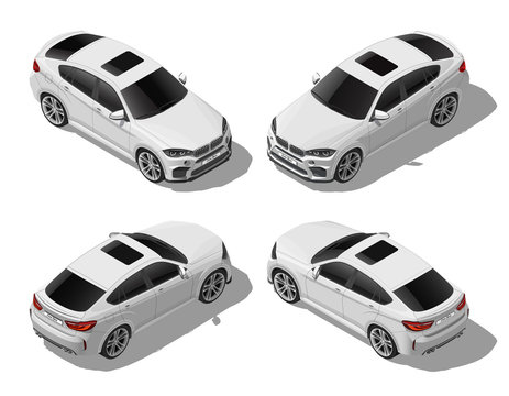 Isometric white off-road car set from different sides, modern vehicle, lux or sport concept, urban transport, isolated on white background